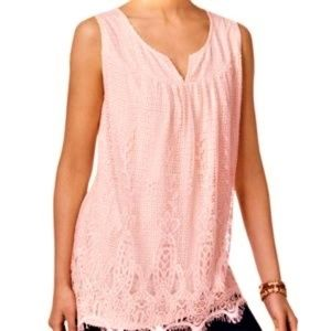 Style & Co. Lace Pink Tunic Top